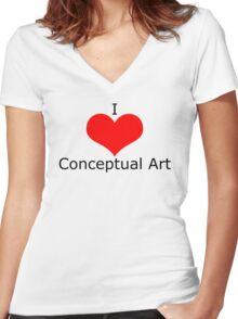 I Heart Conceptual Art Women's Fitted V-Neck T-Shirt