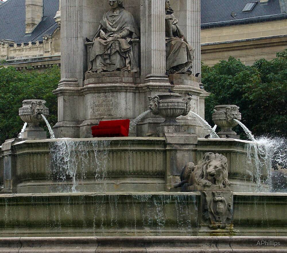 Red Couch in Fountain, St. Sulpice by APhillips