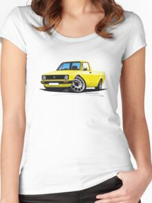 VW Caddy Yellow Women's Fitted Scoop T-Shirt