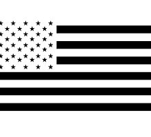 American Flag, NEGATIVE on white, Stars & Stripes, Pure & Simple, USA by TOM HILL - Designer