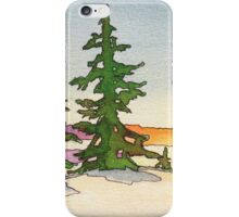 Pine trees, snow and sunset watercolor iPhone Case/Skin