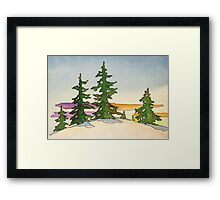 Pine trees, snow and sunset watercolor Framed Print