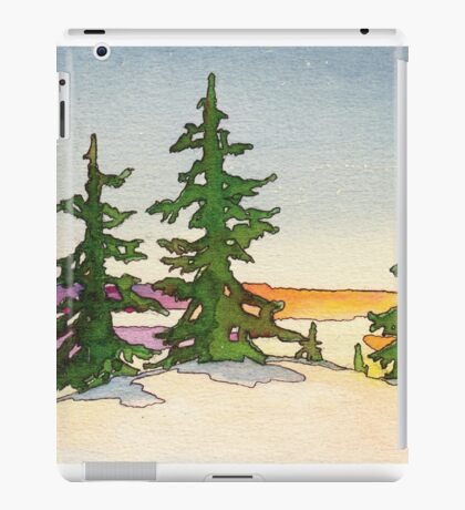 Pine trees, snow and sunset watercolor iPad Case/Skin