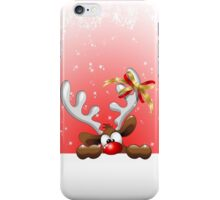 Funny Christmas Reindeer Cartoon iPhone Case/Skin