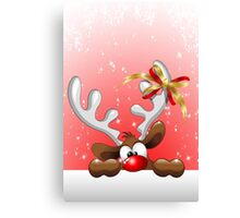 Funny Christmas Reindeer Cartoon Canvas Print