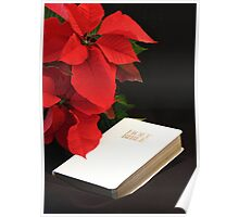 Poinsettia and Bible Poster