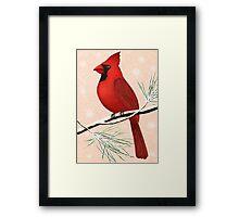 american red cardinal winter version :) Framed Print