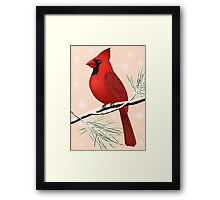 american red cardinal winter version :) Framed Print