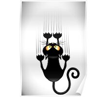 Black Cat Cartoon Scratching Wall Poster