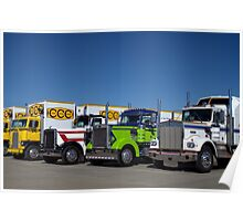 Antique Semi Truck Line Up Poster