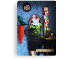 RABBIT carrots assemblage mixed media collage shadow box art Canvas Print