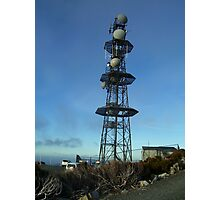 tower on Mt Read - dangerous tower in winter with ice daggers dropping  down Photographic Print