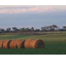 Hay Rolls at dusk Photographic Print