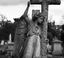 Angel with cross Brompton Cemetery by joelmeadows1