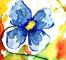 Modern Blue Pansy by HannahTiffinArt