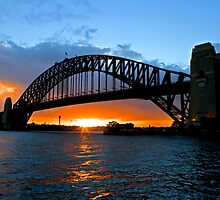 Harbor Bridge Sunset by John Karamanos
