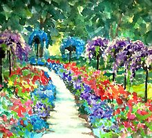 Flower Walk, Dow Gardens Watercolor Print by Artist Hannah Tiffin by HannahTiffinArt