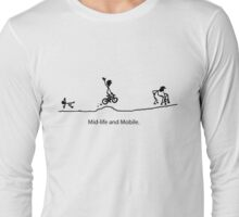 Mid Life And Mobile - Cycling Cartoon Long Sleeve T-Shirt