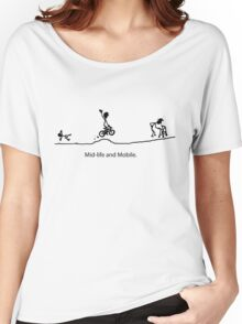 Mid Life And Mobile - Cycling Cartoon Women's Relaxed Fit T-Shirt