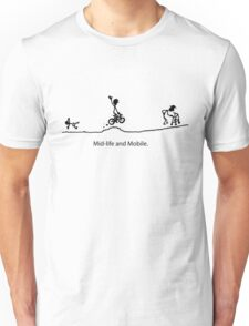 Mid Life And Mobile - Cycling Cartoon Unisex T-Shirt