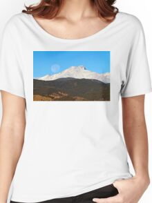 Full Moon Setting Over Snow Covered Twin Peaks  Women's Relaxed Fit T-Shirt