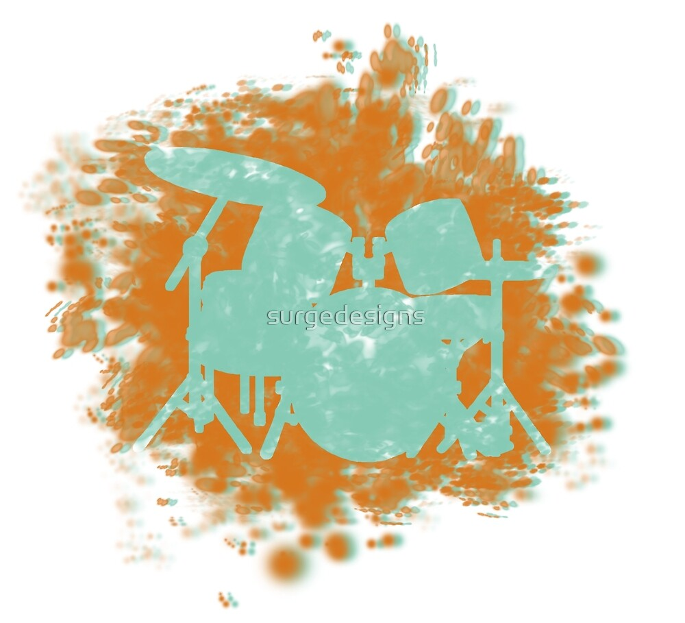 Drumset Splatter 3D look silhouette by surgedesigns