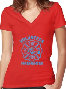 Volunteer Fire Dept - BLUE Women's Fitted V-Neck T-Shirt