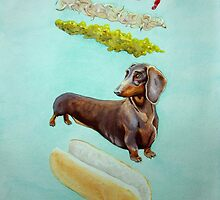 Hot Doggin' - Dachshund in a Bun by catshrine