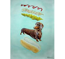 Hot Doggin' - Dachshund in a Bun Photographic Print