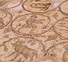 Old Roman mosaic floor  by Ron Zmiri