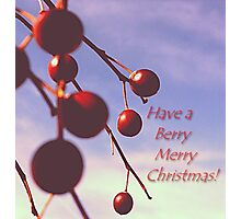 Berry Merry Christmas message Photographic Print