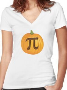 Halloween Pumpkin Pie Pi Women's Fitted V-Neck T-Shirt