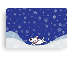 Merry Christmas! Christmas Card with Little White Dog! Canvas Print