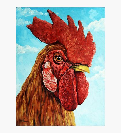 ROOSTER - realistic oil painting farm animal Photographic Print