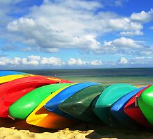Red and yellow and pink and blue - canoes by Annie Jones
