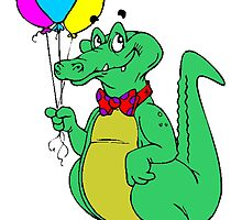 Alligator With Balloons by kwg2200
