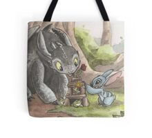 Toothless and Stitch Build a Froghouse Tote Bag