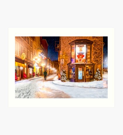 A Winter Night in Old Quebec Art Print