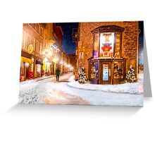 A Winter Night in Old Quebec Greeting Card