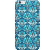 Art Deco Lotus Rising - black, teal & turquoise pattern iPhone Case/Skin