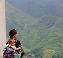A Mother facing the Mountains - Sa Pa, Vietnam. by Tiffany Lenoir