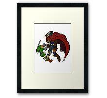 Link Vs Ganandorf Ocarina of Time colored Framed Print