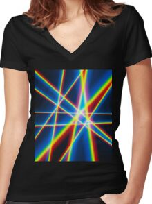 Rainbow Lines Women's Fitted V-Neck T-Shirt