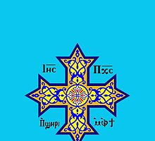Coptic Orthodox Cross with text on blue by JoAnnFineArt