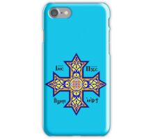 Coptic Orthodox Cross with text on blue iPhone Case/Skin