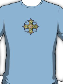 Coptic Orthodox Cross with text on blue T-Shirt
