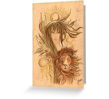 """THE LEO"" - Protective Angel for Zodiac Sign Greeting Card"