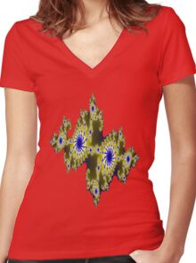 Blu and Gold Fractal Women's Fitted V-Neck T-Shirt