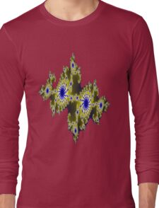Blu and Gold Fractal Long Sleeve T-Shirt