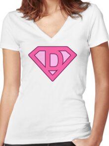 D letter Women's Fitted V-Neck T-Shirt